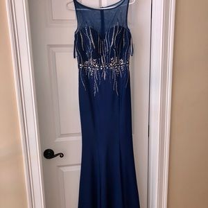 Mermaid, beaded blue gown